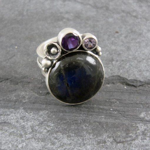 Labradorite & Amethyst Ring in sterling silver