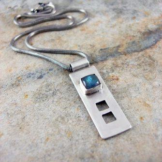 Labradorite and silver pendant