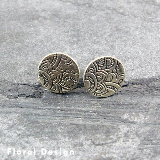 Mehndi Silver Stud Earrings