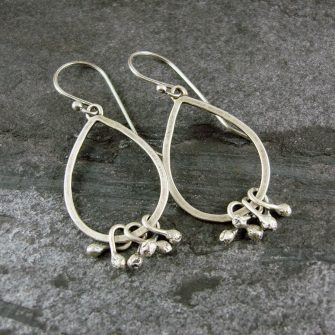 Seed Pod Drop Silver Earrings