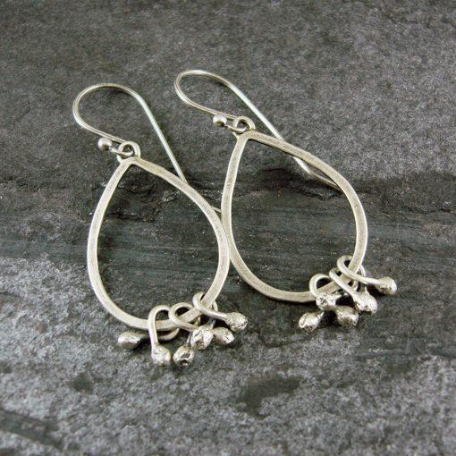 Seed Pod Drop Silver Earrings