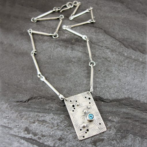 Swiss Blue Topaz Graffiti Necklace