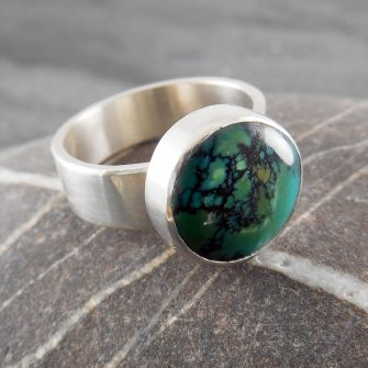 Turquoise Button Ring in Sterling Silver
