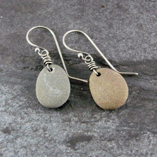 Beach Pebble & Silver Drop Earrings