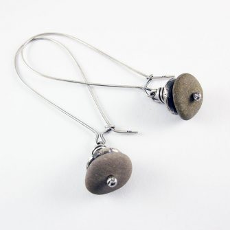 Beach Pebble & Silver Stack Earrings, Long