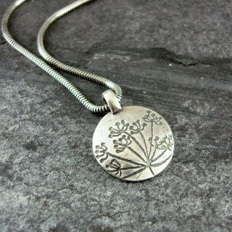 Cow Parsley Silver Disc Pendant
