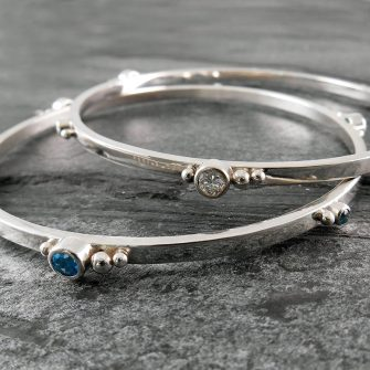 Gem Cluster Silver Bangle Bracelet (can be personalised)