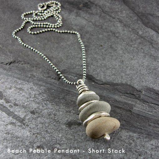 Beach Pebble & Silver Stack Pendant