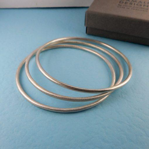 Brushed silver bangle
