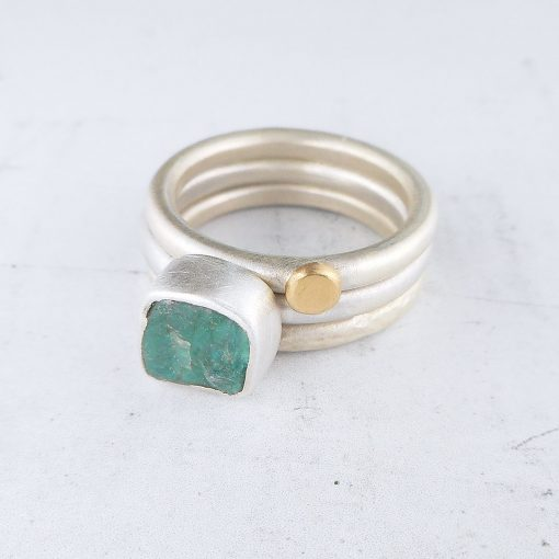 Turquoise Apatite, 9ct gold & Silver Rings