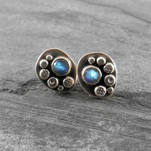 Labradorite Granule Freeform Stud Earrings