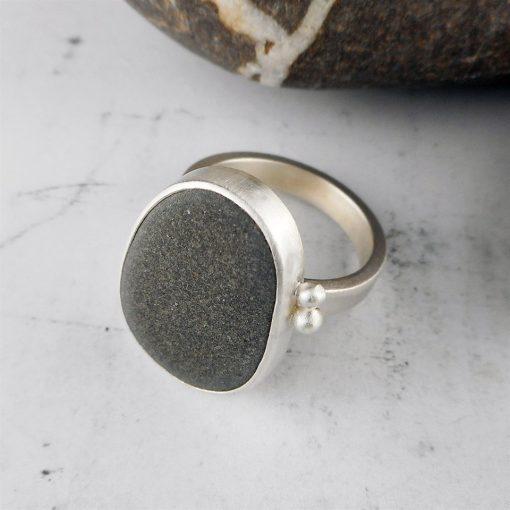 Beach Pebble & Silver Ring