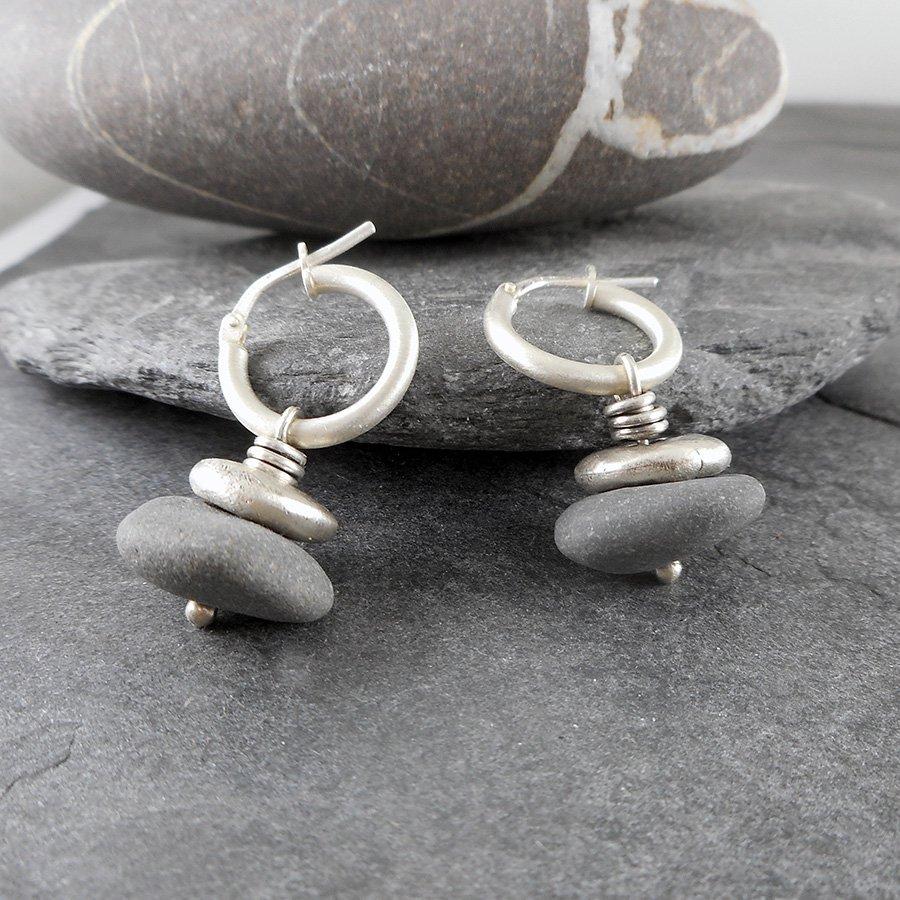 Beach Pebble & Silver Stack Hoop Earrings