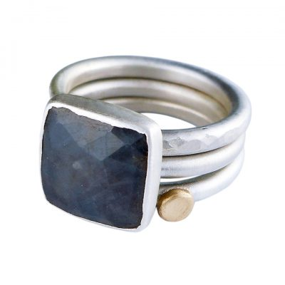 Grey Sapphire and Gold Dot stacking rings - UK size O