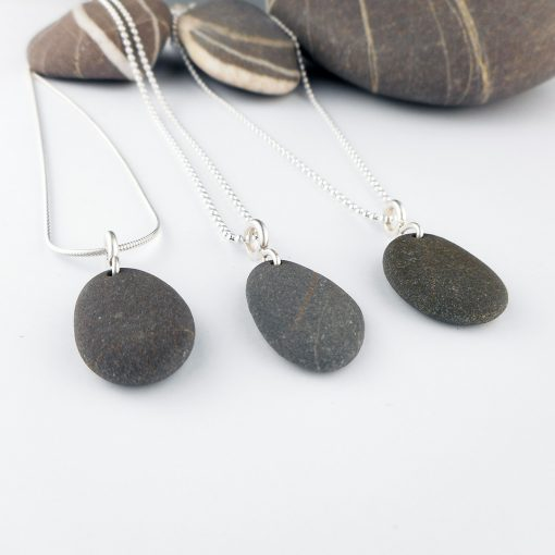 Single Beach Pebble and silver pendant