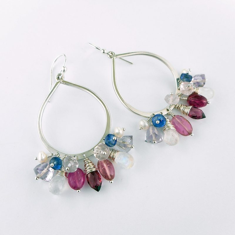 Earring Club June 2017 pink, white and blue hoop earrings