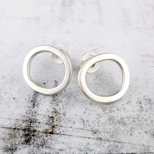 Rock Pools stud earrings in brushed silver