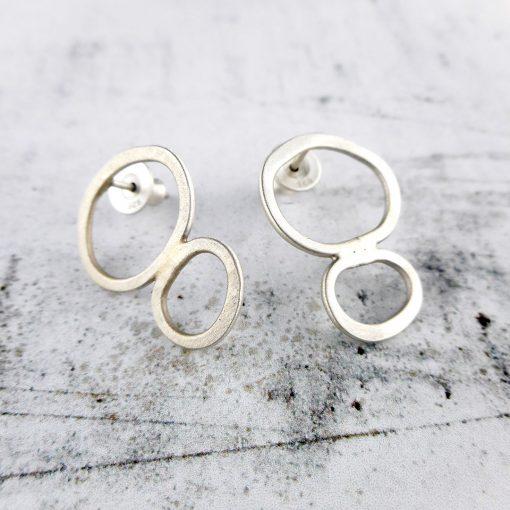 Rock Pools double stud earrings in brushed silver