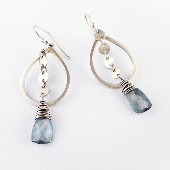 aquamarine sequin drop earrings
