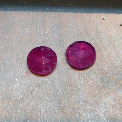 rubies for one off earrings, on the bench