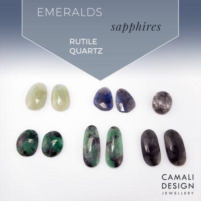 new stones; sapphire, emerald, rutile quartz