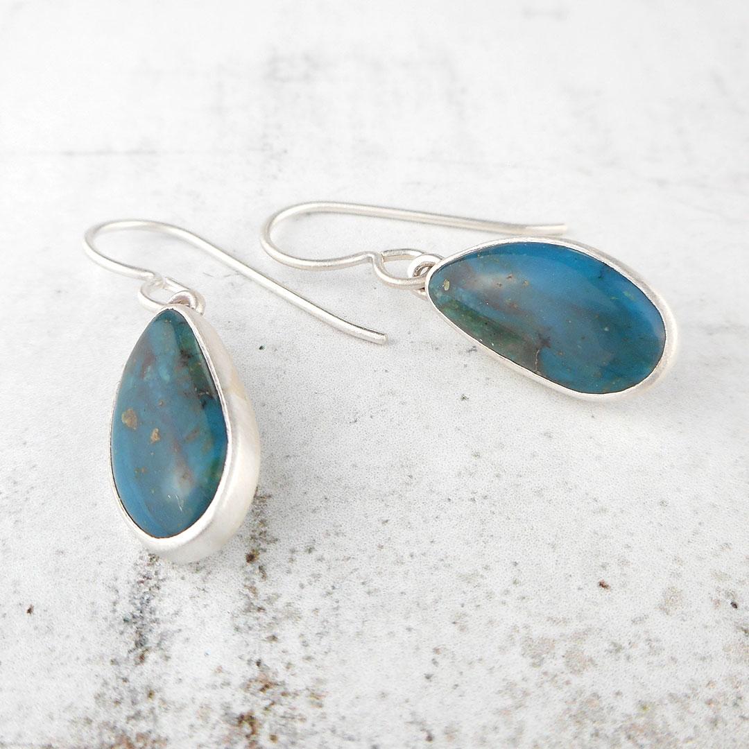 handmade blue opal earrings in sterling silver