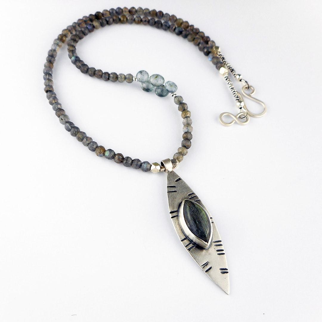labradorite marquis necklace with aquamarine