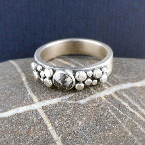 Salt & pepper (grey) diamond and silver granule Cobblestone ring