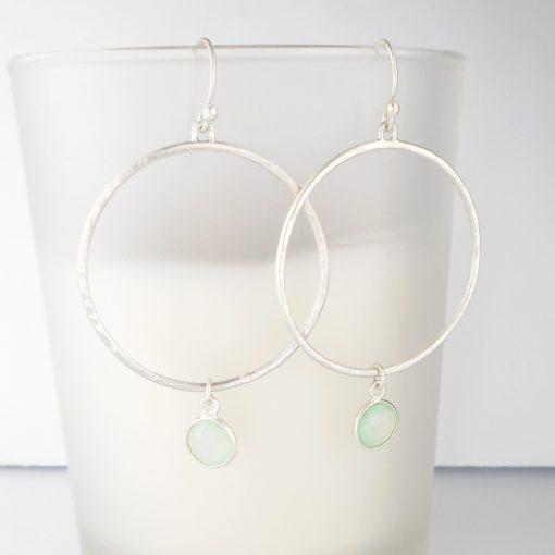 Aqua Chalcedony brushed silver Hoop Earrings