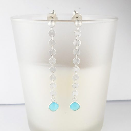 Blue Chalcedony brushed sequin silver Earrings