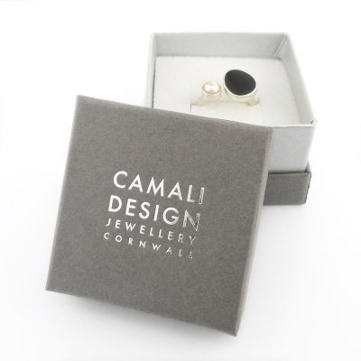 every piece of jewellery is sent in a grey and silver gift box