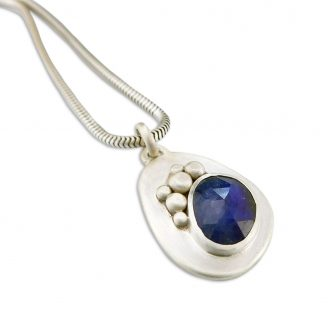 Blue Sapphire and silver pendant