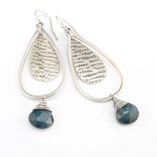 teal blue kyanite and silver drop earrings