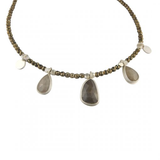 one of a kind sapphire and pyrite necklace