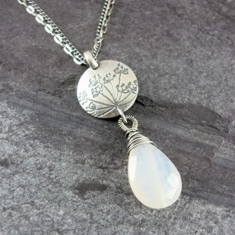 Cow Parsley Moonstone & Silver Drop Necklace
