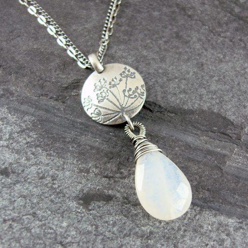 Cow Parsley Moonstone & Silver Drop Necklace