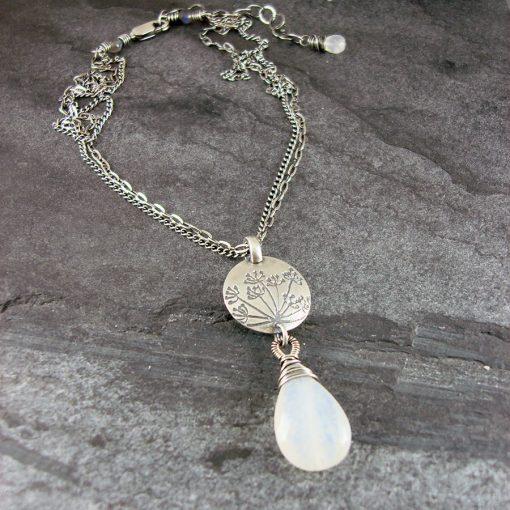 Hundkex Moonstone & Silver Drop Necklace