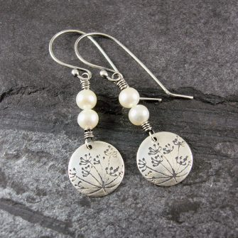 Cow Parsley Pearl & Silver Drop Earrings