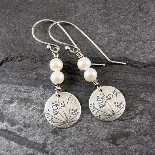 Cow Parsley Pearl & Silver Drop Earrings