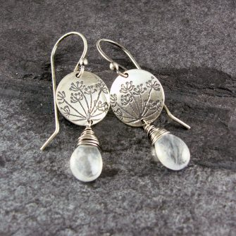 Cow Parsley Rainbow Moonstone Silver Drop Earrings