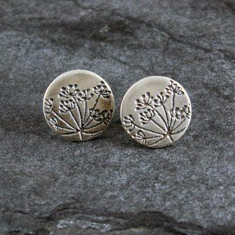 Cow Parsley Silver Stud Earrings