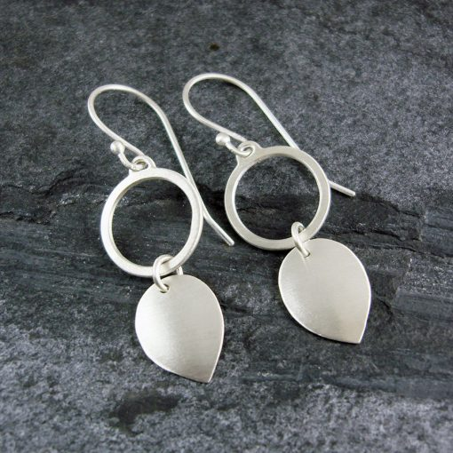 Petal Loop Drop Silver Earrings