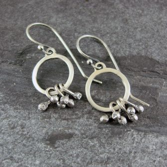 Seed Pod Loop Silver Earrings