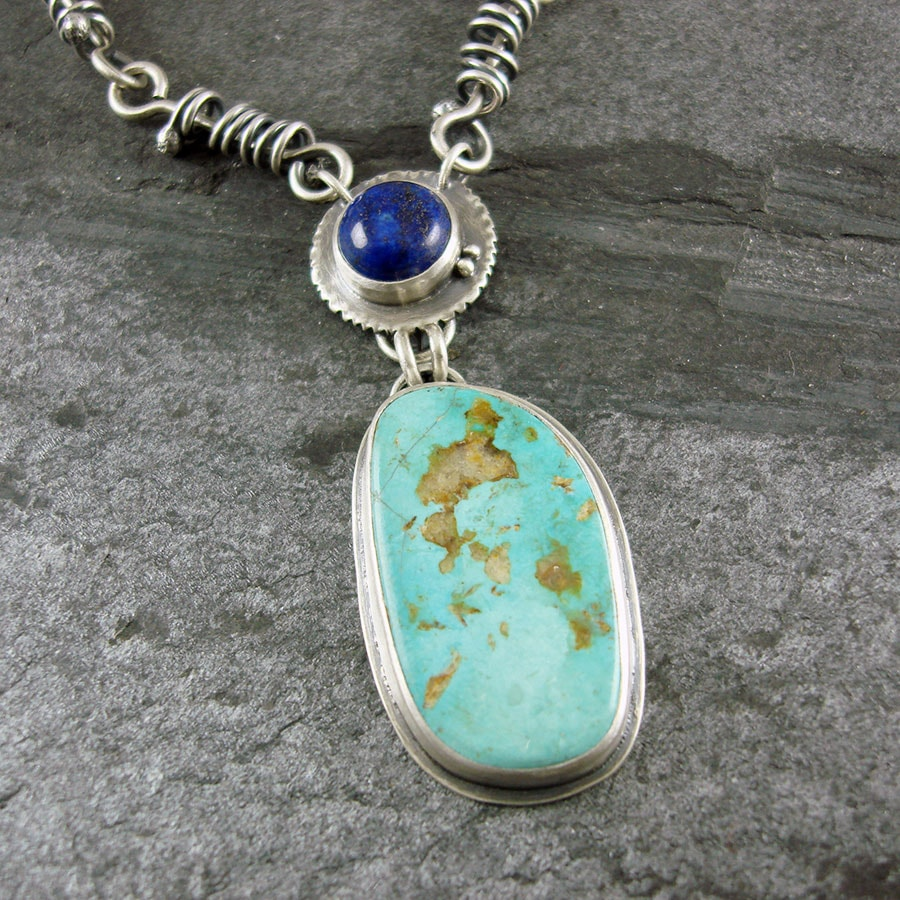 Turquoise And Lapis Lazuli Necklace In Sterling Silver