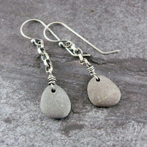 Beach Pebble & Silver Chain Drop Earrings