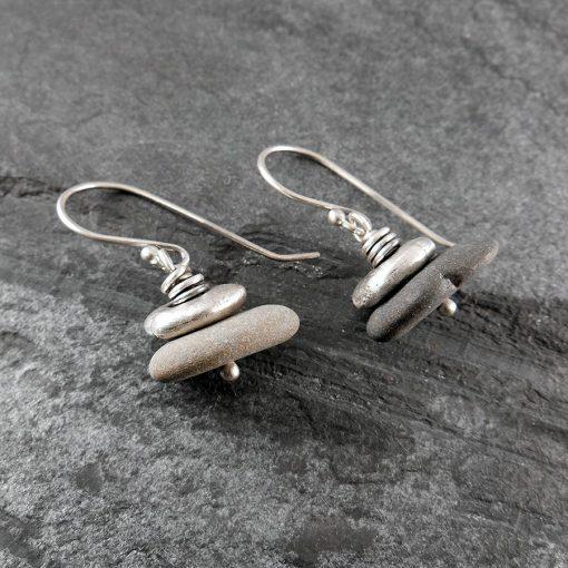 Beach Pebble & Silver Stack Earrings, Short