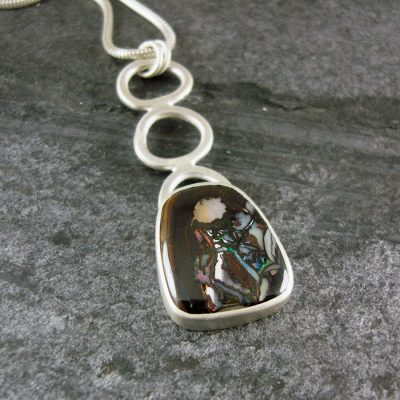 Boulder Opal and silver pendant