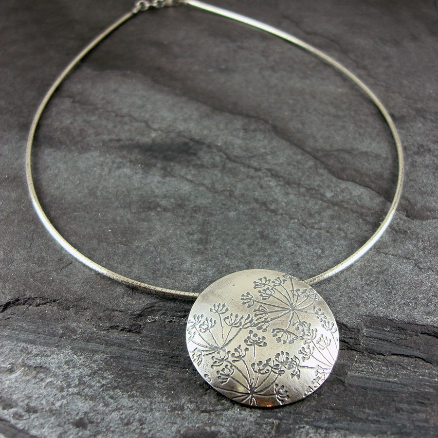 Parsley hundkex large silver disc pendant cow parsley hundkex large silver disc pendant mozeypictures Choice Image