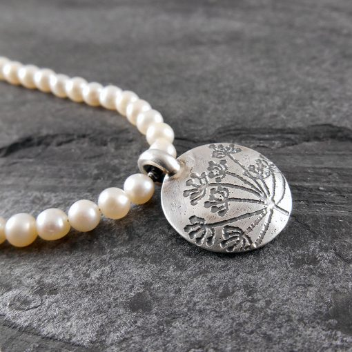 Cow Parsley Silver & Pearl Necklace