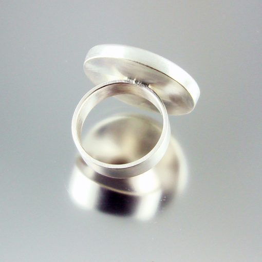 Fossilised Coral and Brushed Silver Ring